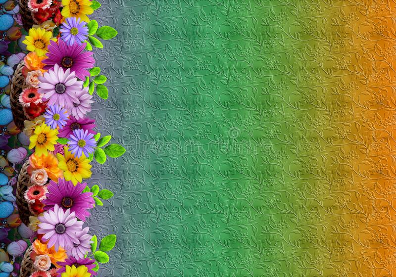 抽象花卉花纹花样数字五颜六色的背景 库存例证