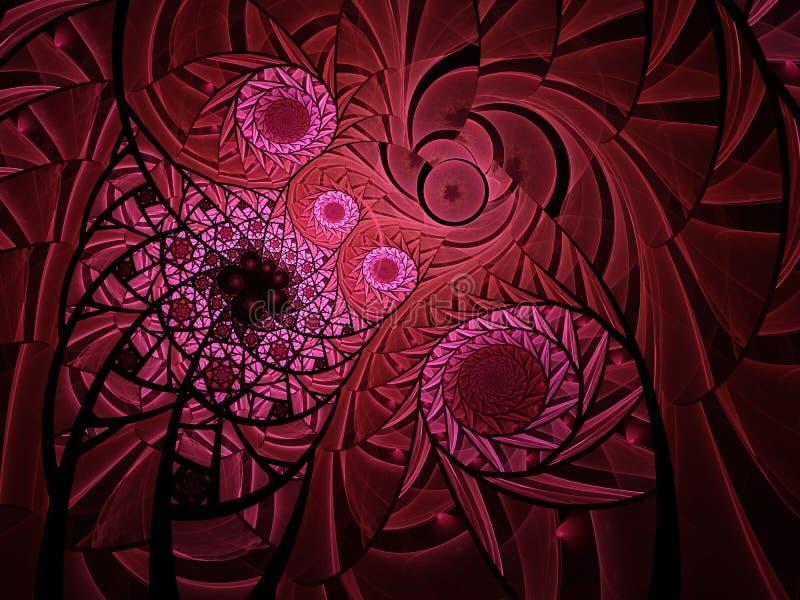 抽象花卉马赛克污点玻璃构成深红颜色 皇族释放例证