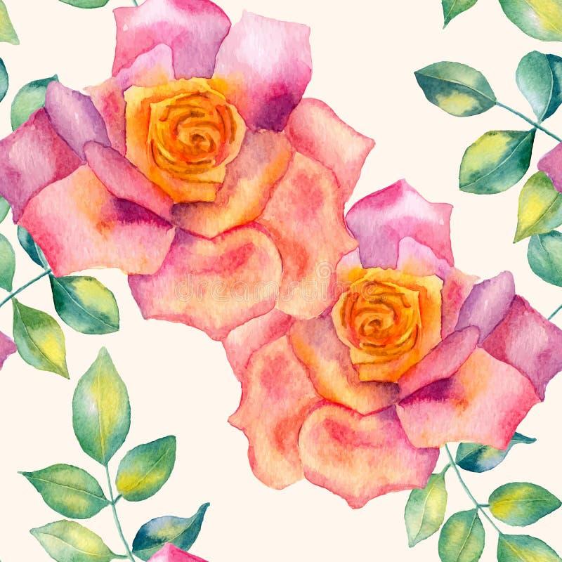 抽象花卉水彩无缝的背景 背景桃红色玫瑰 向量例证