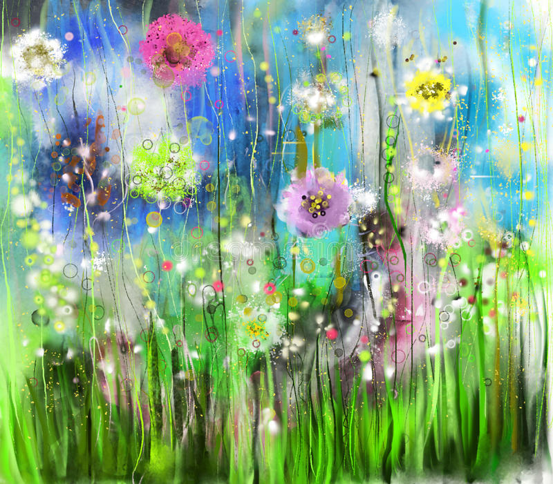 抽象花卉水彩绘画 库存例证
