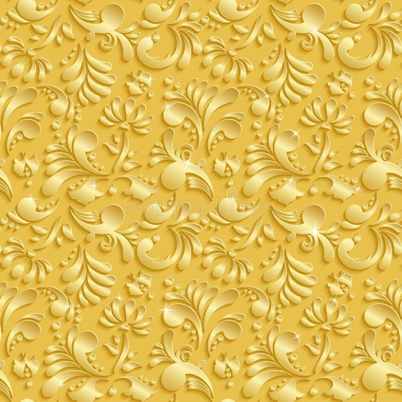 抽象花卉3d无缝的样式 库存例证