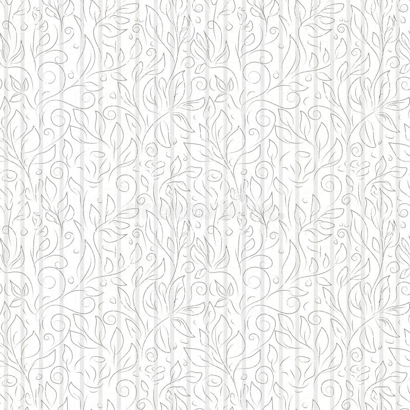抽象花和叶子黑和灰色等高在白色背景 向量例证