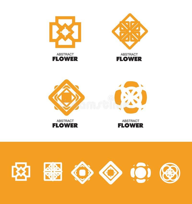抽象花商标集合 向量例证