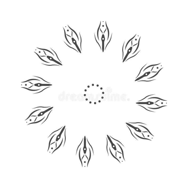 抽象花坛场 分行装饰设计要素 向量 手拉的乱画自然雪花 Zentangle坛场样式 黏性物质 皇族释放例证