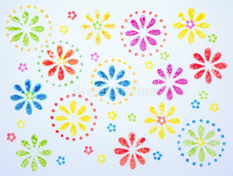 抽象花开花样式水彩绘画 向量例证