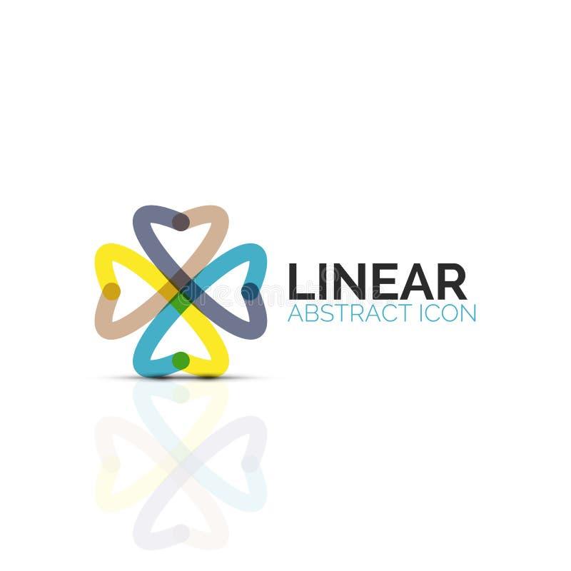 抽象花或星minimalistic线性象,稀薄的线企业象设计的几何平的标志,抽象 库存例证