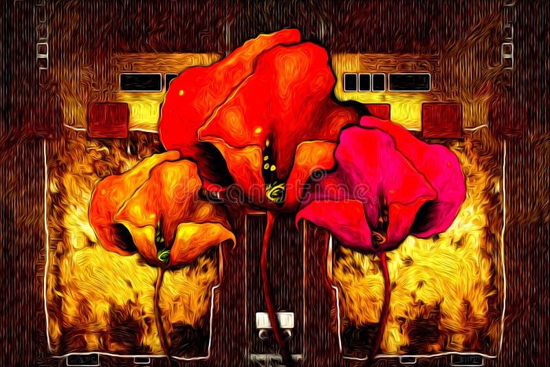抽象花油画乐趣艺术例证设计 皇族释放例证