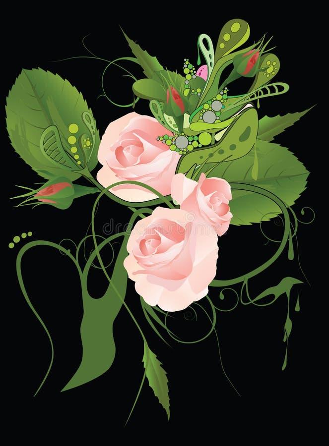 抽象花纹花样玫瑰 库存例证