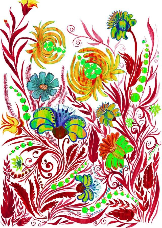抽象花背景,在纸的水彩图画 向量例证