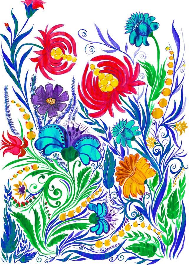 抽象花背景,在纸的水彩图画 库存例证