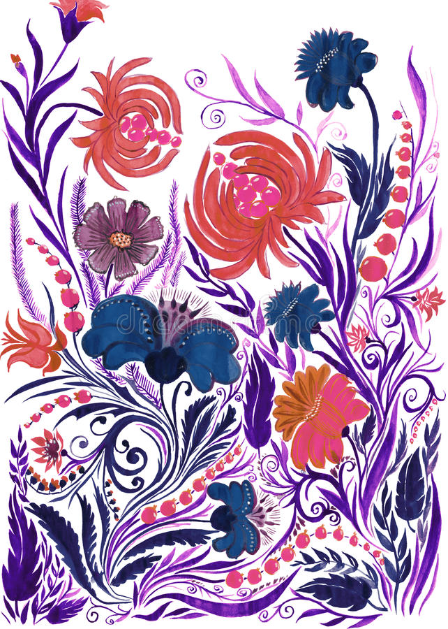 抽象花背景,在纸的水彩图画 皇族释放例证