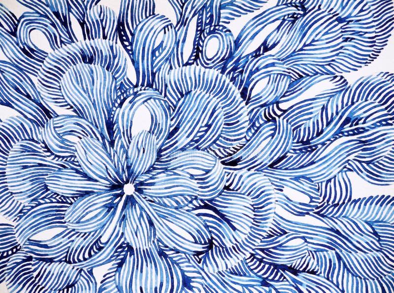 抽象花花卉样式设计例证水彩绘画 皇族释放例证