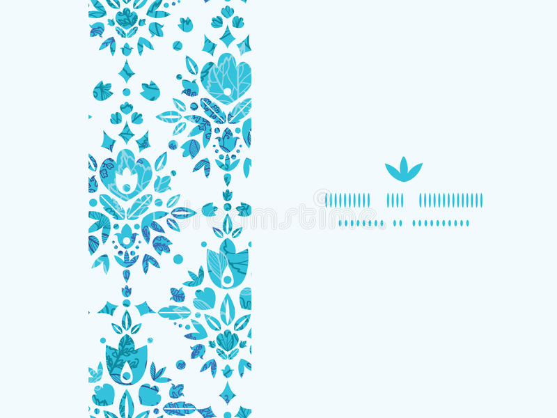 抽象花锦缎水平的无缝的样式 向量例证