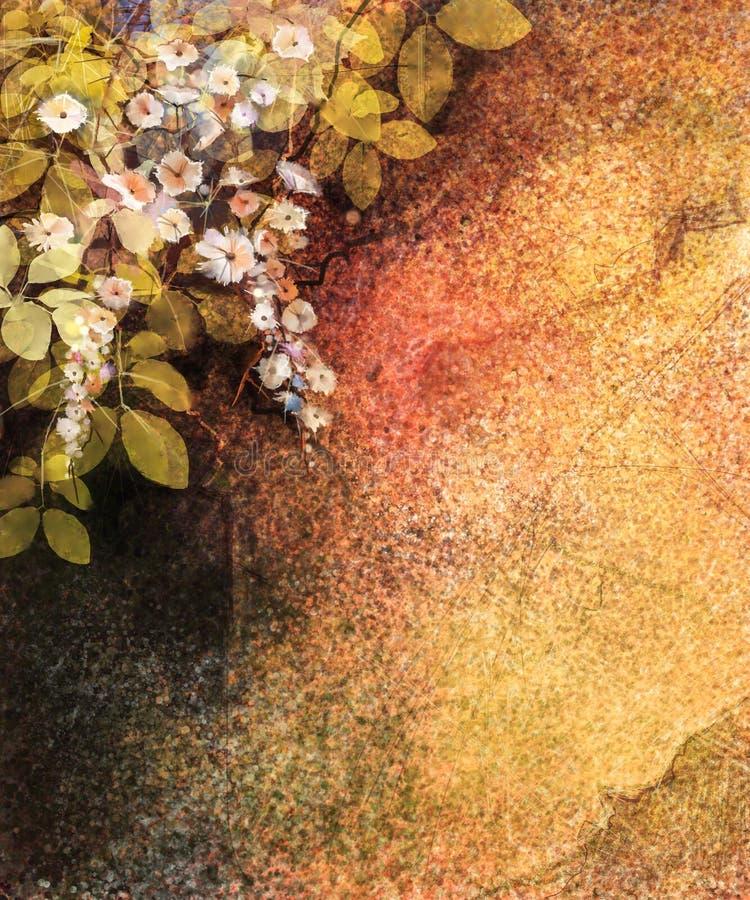 抽象花水彩绘画 手画常春藤在墙壁,难看的东西纹理背景上开花 皇族释放例证