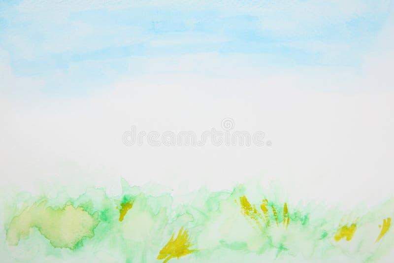抽象草和天空水彩 免版税库存照片