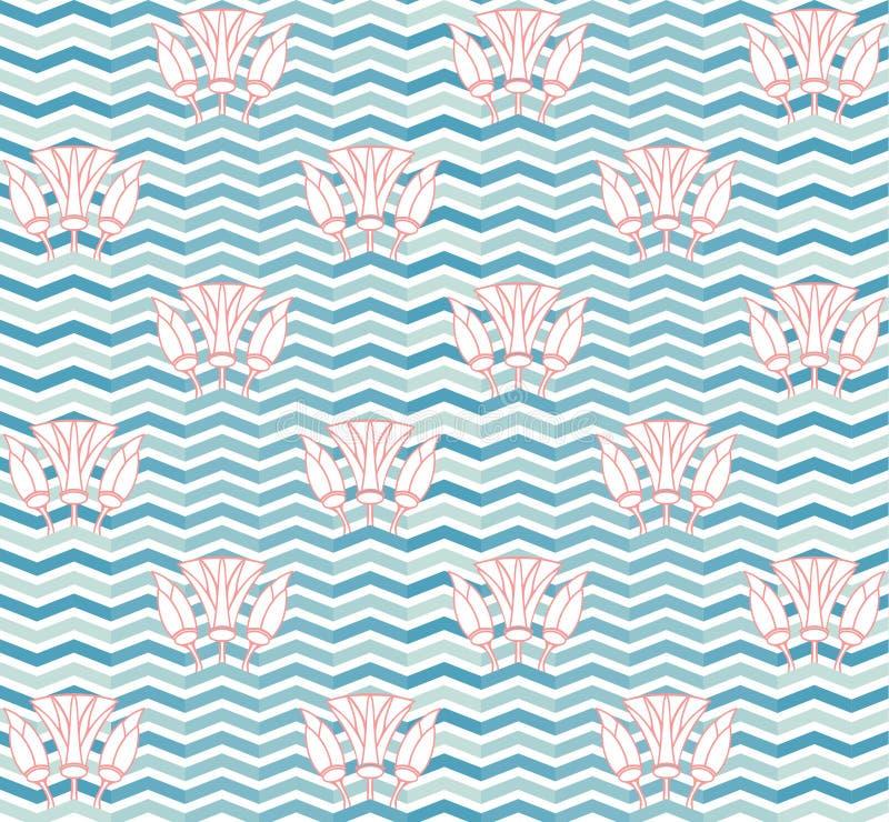 抽象荷花无缝的样式墙纸 向量例证