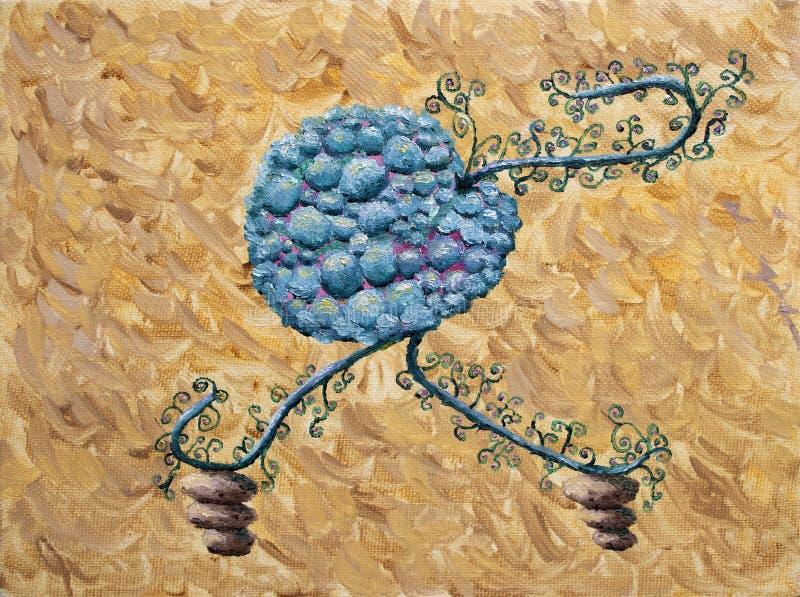 抽象莓果油画 库存照片