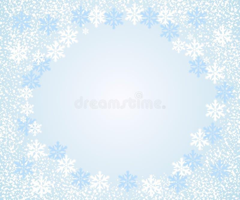 抽象落的雪花,浅兰的背景 与空间的传染媒介例证文本的 向量例证