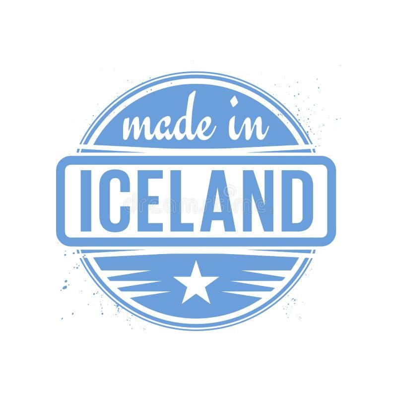 抽象葡萄酒邮票或封印有在冰岛制造的文本的 向量例证