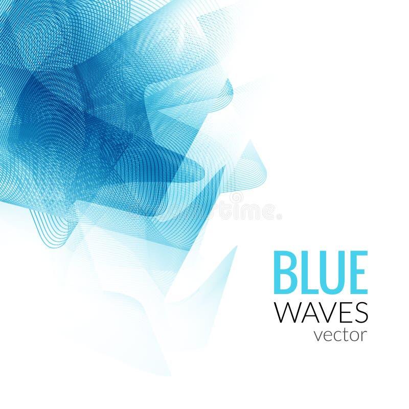 抽象蓝线企业波向量白色背景传染媒介例证 向量例证