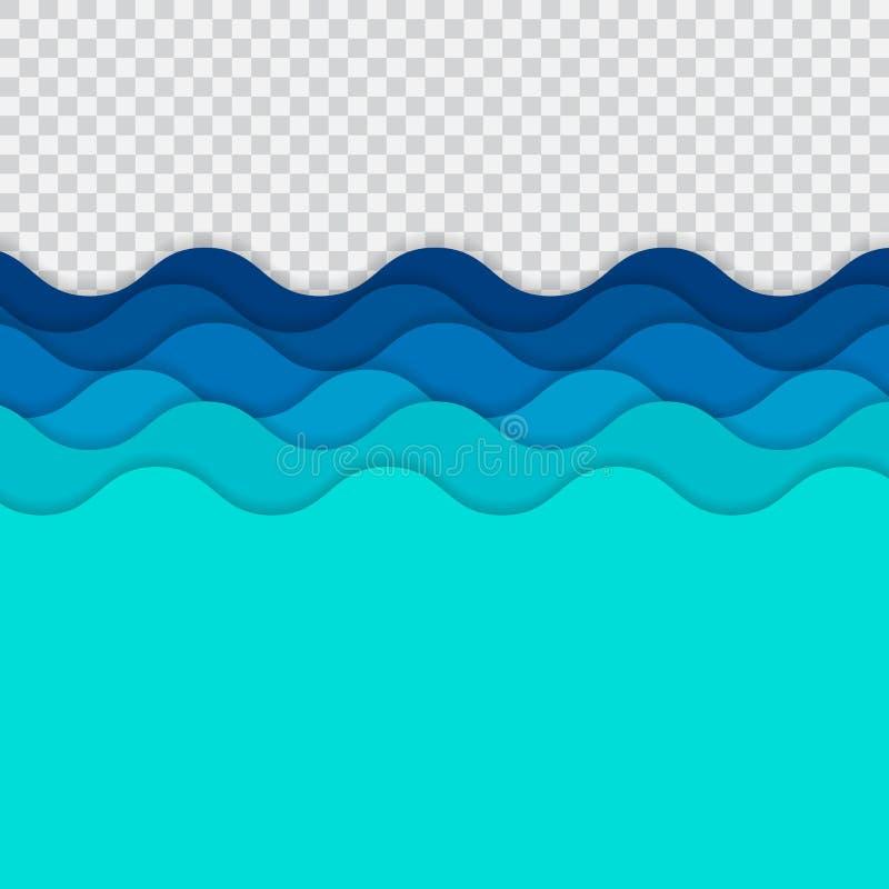 抽象蓝线挥动,波浪条纹样式,毛面, o 皇族释放例证
