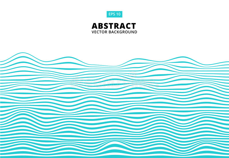 抽象蓝线挥动,波浪条纹样式,毛面, V 向量例证