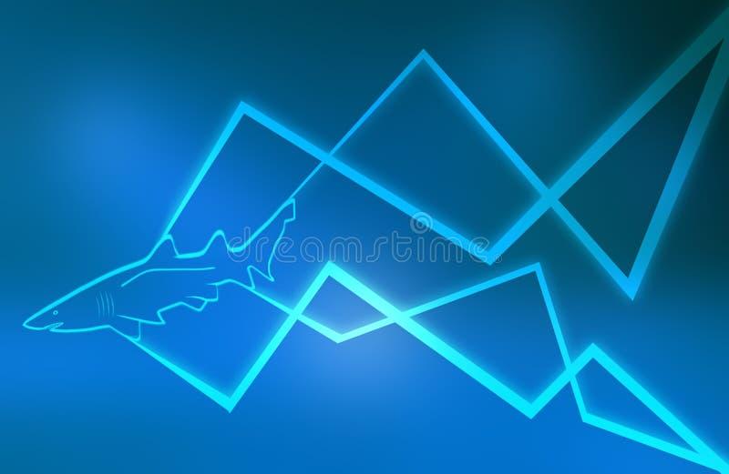 抽象蓝线鲨鱼 向量例证