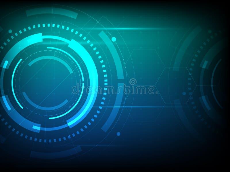 抽象蓝绿色圈子数字技术背景,未来派结构元素概念背景 库存例证