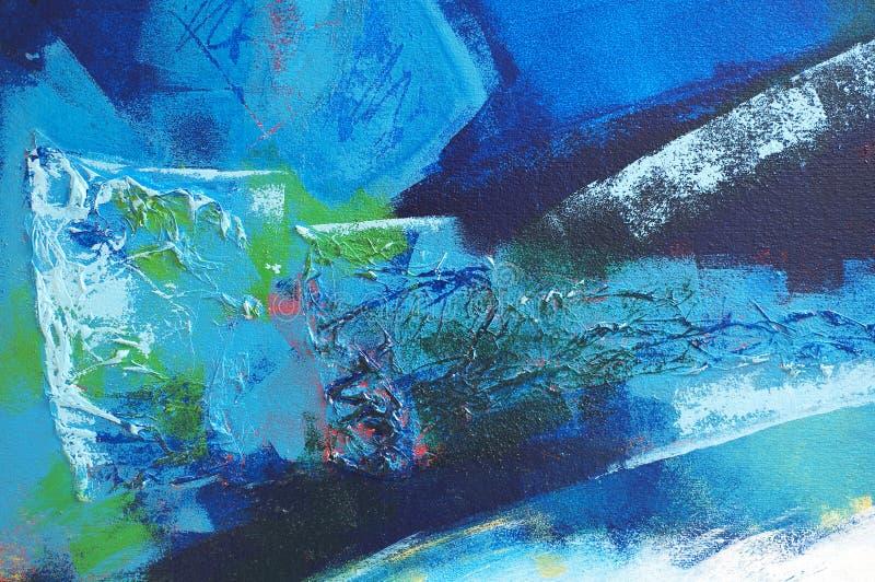 抽象蓝绿色绘画 免版税库存照片