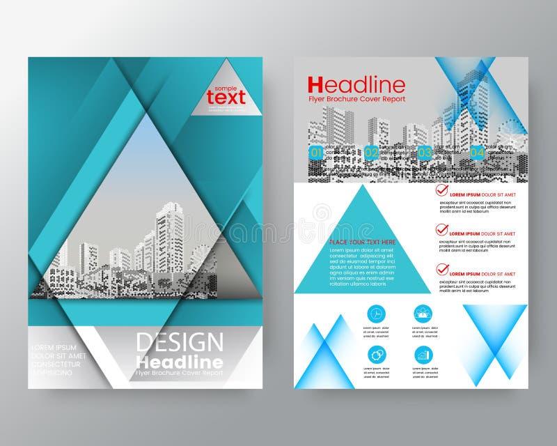 抽象蓝色三角小册子年终报告盖子飞行物海报设计版面传染媒介模板 库存例证