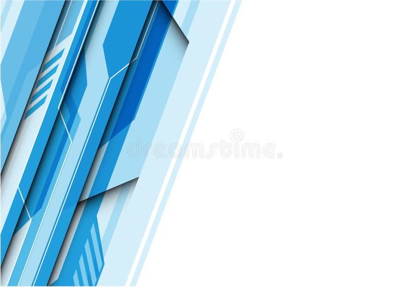 抽象蓝色与白色空白的多角形电路未来派技术 皇族释放例证