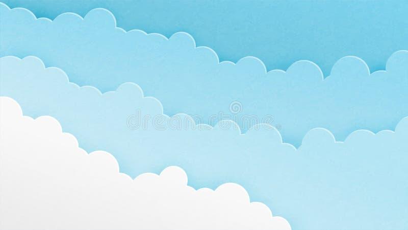 抽象蓝色云彩在纸被削减的样式的天空背景中 纸艺术origami做了cloudscape层数 r 皇族释放例证