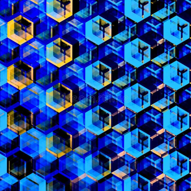 抽象蓝色六角形背景 现代六角彩色插图 几何艺术纹理 向量例证