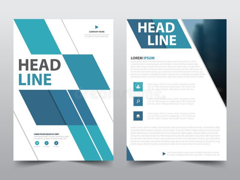 抽象蓝色几何小册子海报,飞行物在a4大小,介绍书套的年终报告模板 向量例证