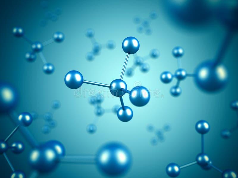 抽象蓝色分子微生物学科学背景 皇族释放例证