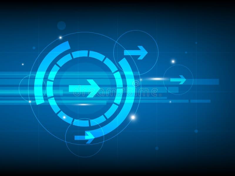 抽象蓝色右箭头圈子数字技术背景,未来派结构元素概念背景 向量例证