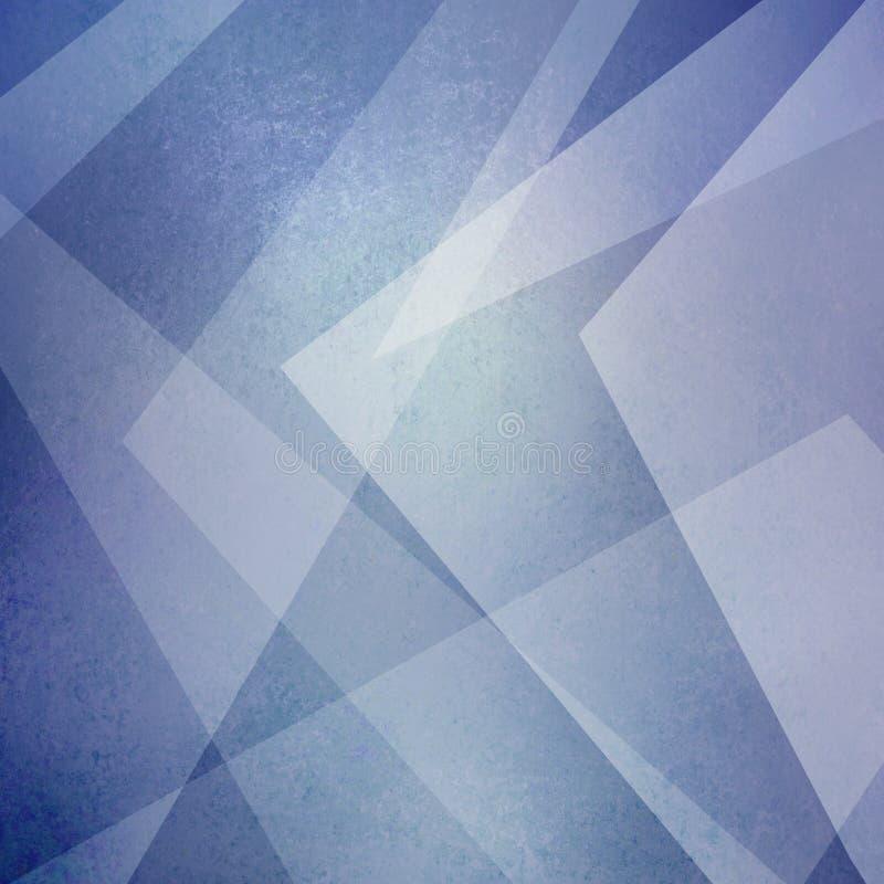 抽象蓝色和白色背景 三角和有角度的形状在现代几何布局 库存例证