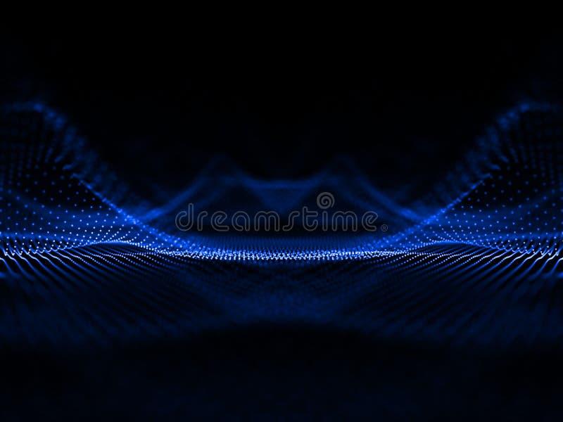 抽象蓝色噪声指向栅格 未来派科学波浪 声音 皇族释放例证
