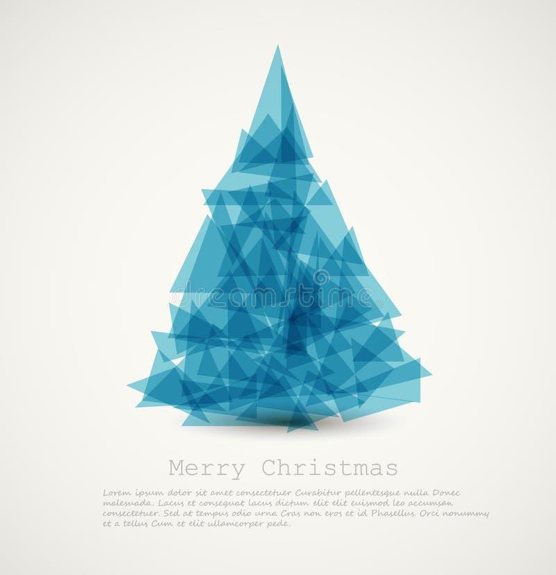 抽象蓝色圣诞节现代结构树 库存例证