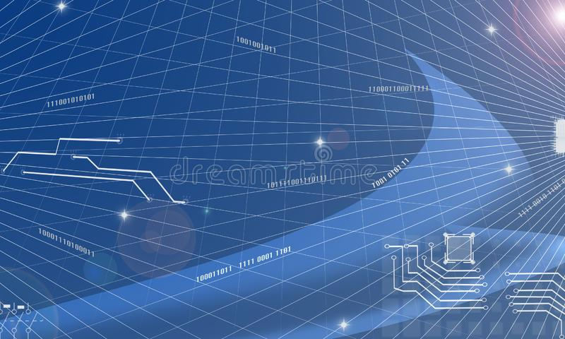 抽象蓝色在蓝色的背景栅格Computin未来派信息技术电子数据流电路摘要背景 免版税库存图片
