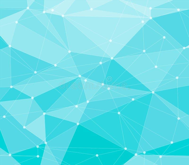 抽象蓝色多角形背景 库存例证