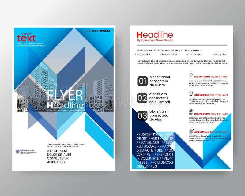 抽象蓝色对角线小册子年终报告盖子飞行物海报在A4大小的设计版面模板 库存例证