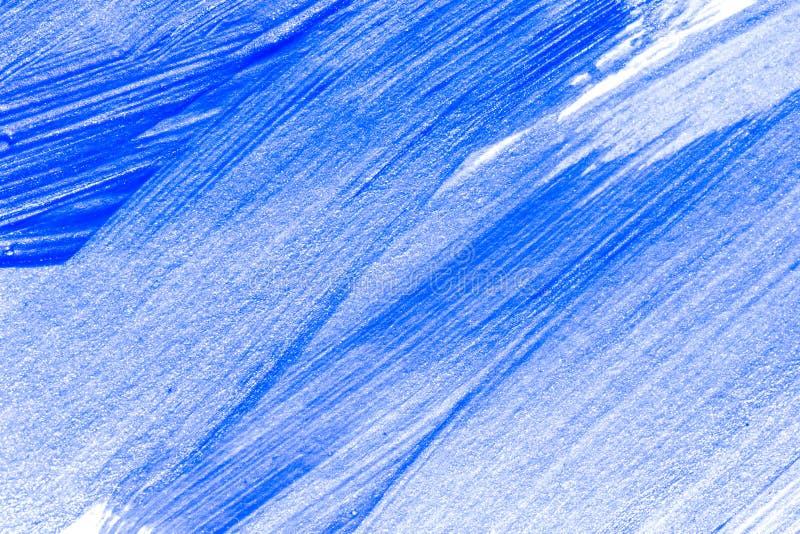 抽象蓝色手拉的丙烯酸酯的绘画创造性的艺术背景 特写镜头射击了在帆布wi的绘画的技巧五颜六色的丙烯酸漆 库存图片