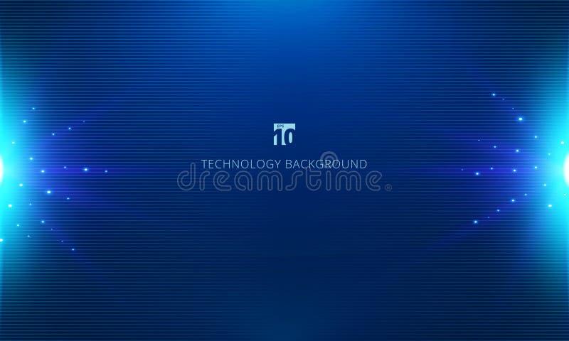 抽象蓝色技术概念水平线样式背景和纹理与爆炸光 向量例证