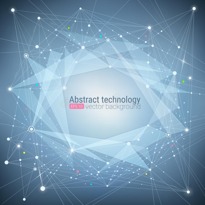 抽象蓝色技术绿松石背景 混乱行动 结分子结构 科学和连接概念 Ve 库存例证