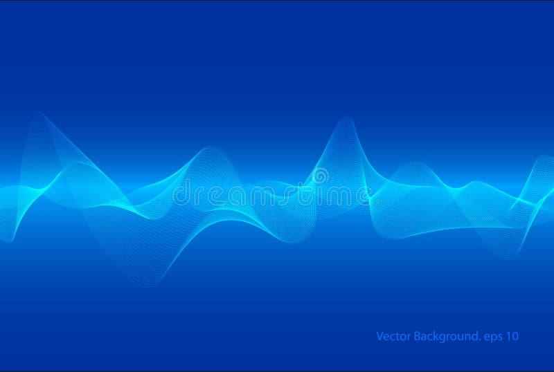 抽象蓝色数字式调平器,声波样式元素,技术backgorund传染媒介  库存例证