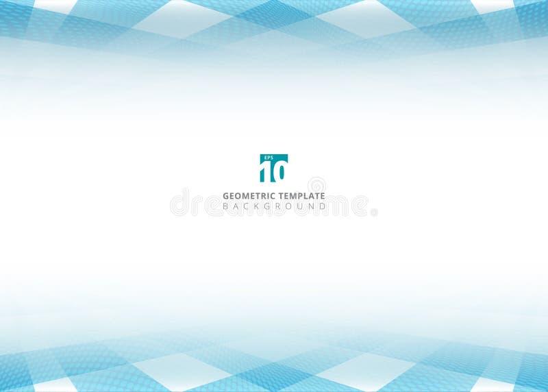 抽象蓝色方形的样式和中间影调小点透视heade 皇族释放例证