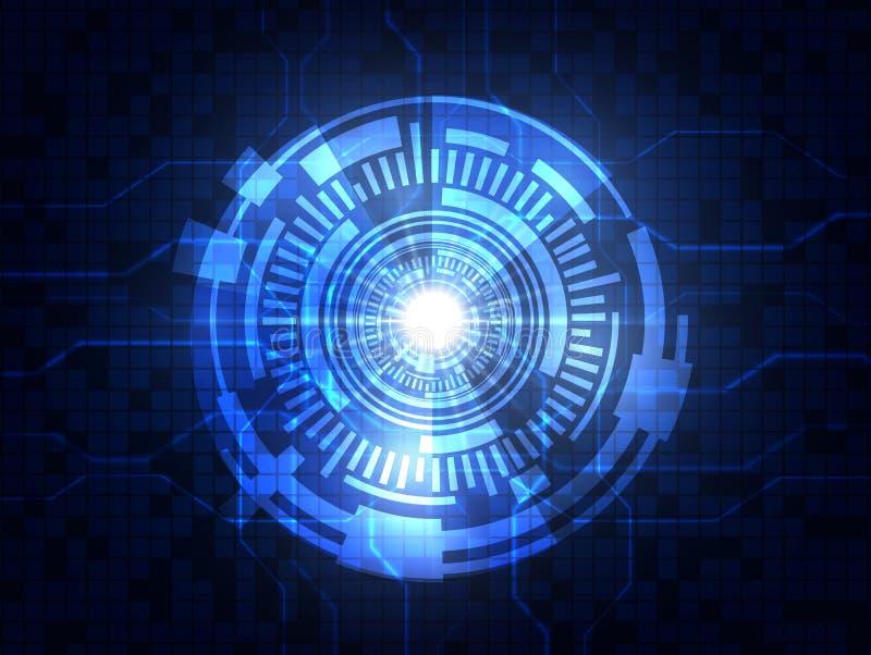 抽象蓝色未来派数字技术背景 也corel凹道例证向量 库存例证