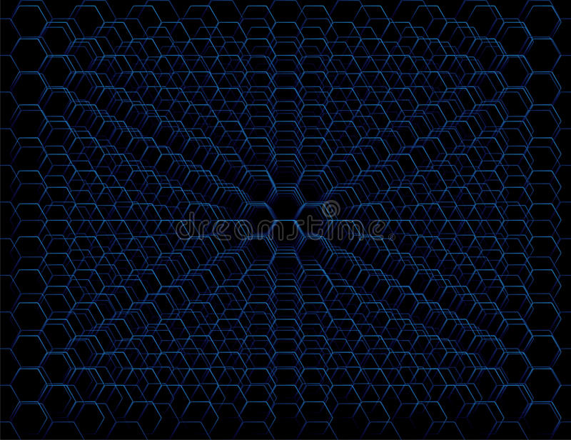 抽象蓝色未来派蜂窝细胞样式 向量例证