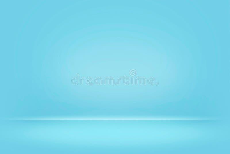 抽象蓝色柔和的淡色彩被弄脏的光滑的背景颜色梯度墙壁能半新创造性的概念, 免版税库存图片